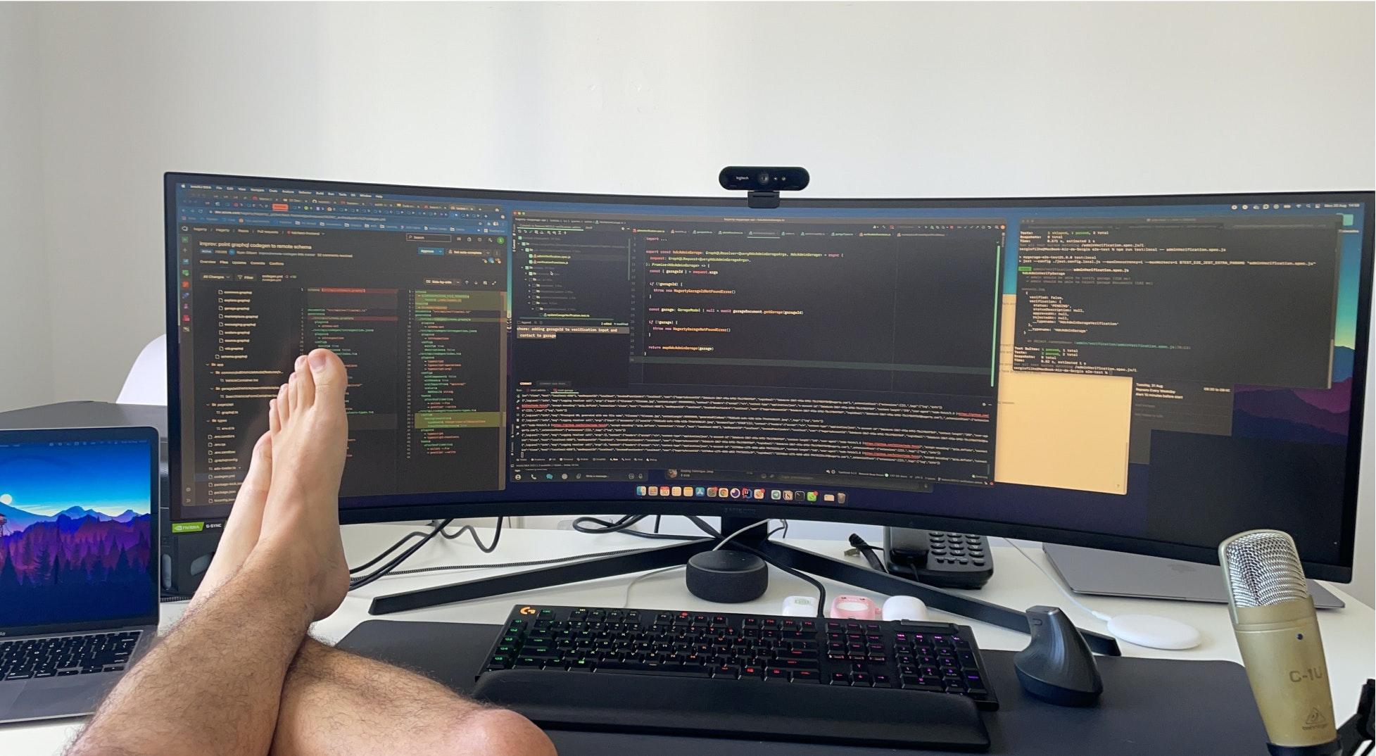 Feet up on a desk.