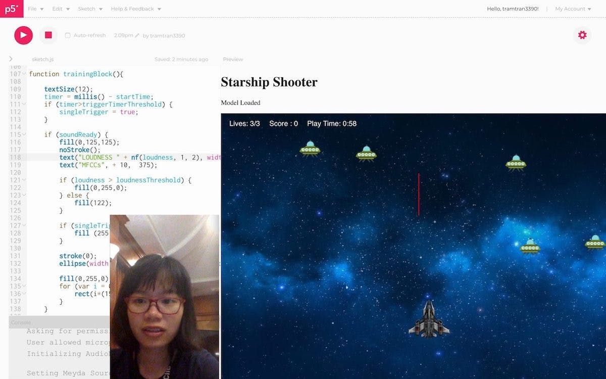 Remaking the game Starship Shooter with ML5 PoseNet