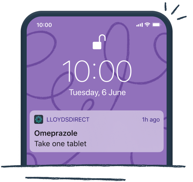 Mobile phone with a medicine reminder from the LloydsDirect (formerly Echo) app