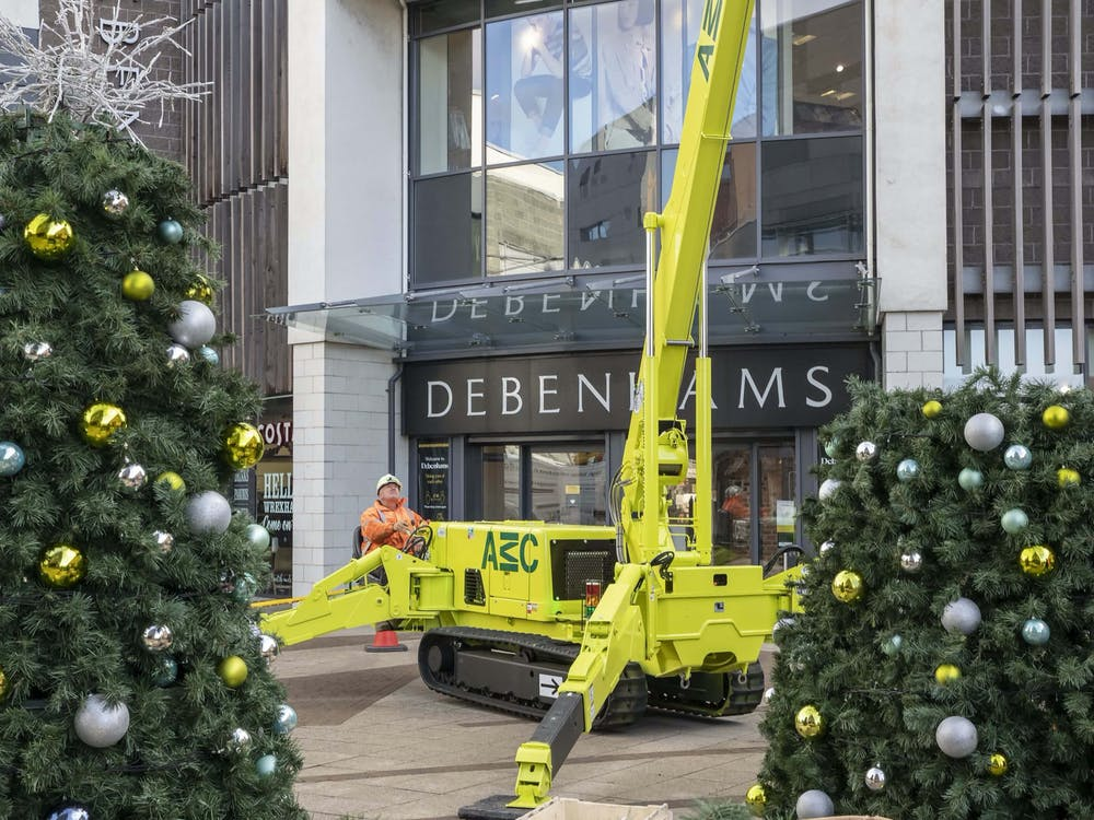 Crane lifting decorations