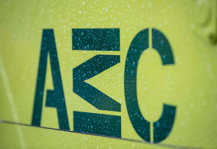 AMC logo on crane