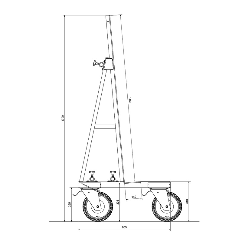 UPT Glass trolley Dimensions
