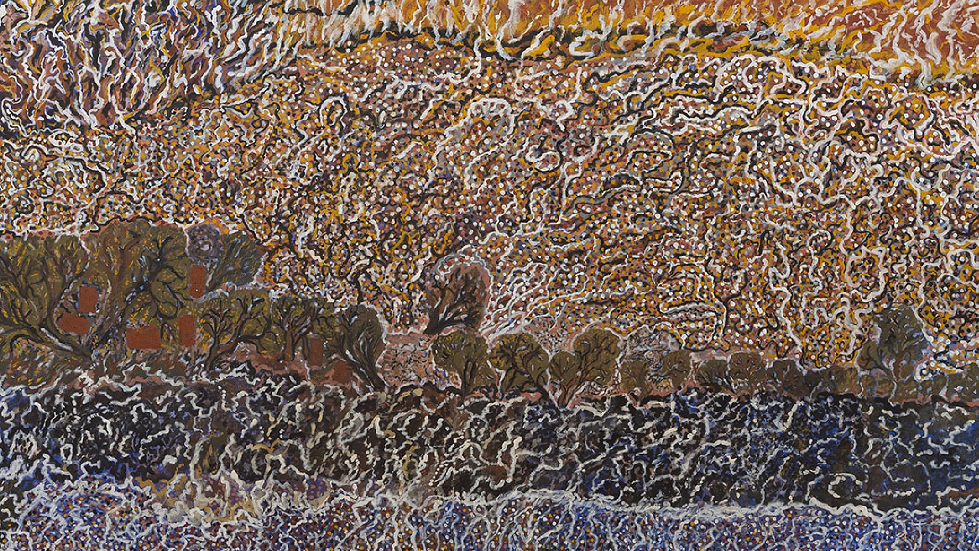 Mavis Ngallametta, detail of Bush Fire Burning at Kuchendoopen, 2015, natural ochres and charcoal with acrylic binder on linen, 271 x 200cm. Courtesy of the collection of Peter Lamell and Jane Campton, Melbourne.