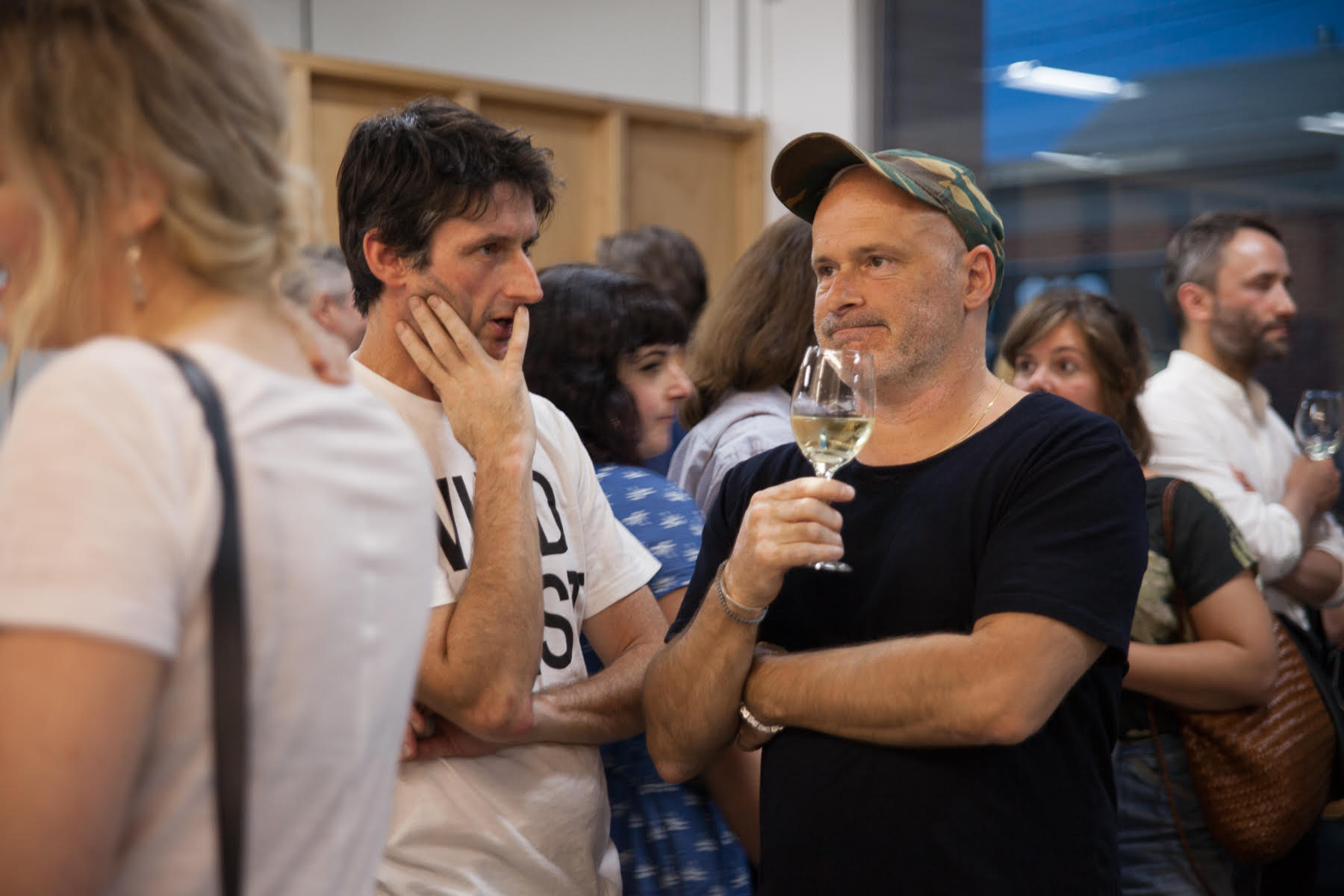 Damiano Bertoli and Benjamin Armstrong pictured at the opening event for exhibitions It's Like That, Sangeeta Sandrasegar, and A Dark and Quiet Place, David Noonan, in 2018.