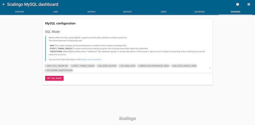 Scalingo MySQL SQL mode tab
