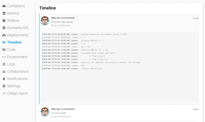 One-off audit logs in the Timeline of Scalingo's Dashboard