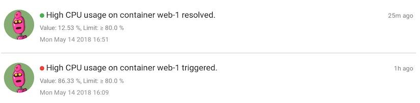 Alert triggered events