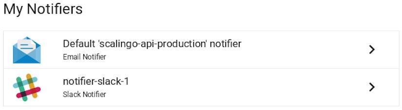 Scalingo Dashboard Notifications My Notifiers