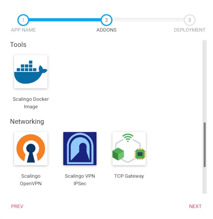 Choose addon step of app creation