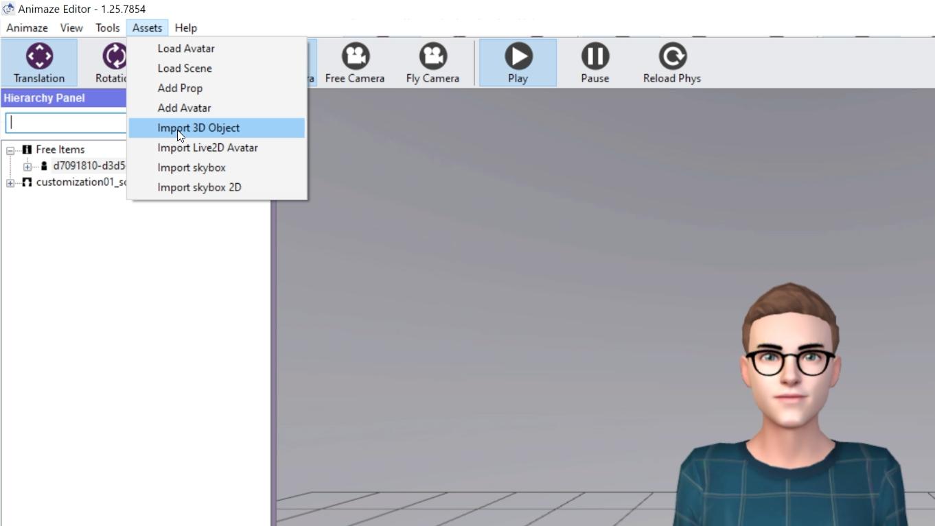 Import your avatar to the Animaze Editor