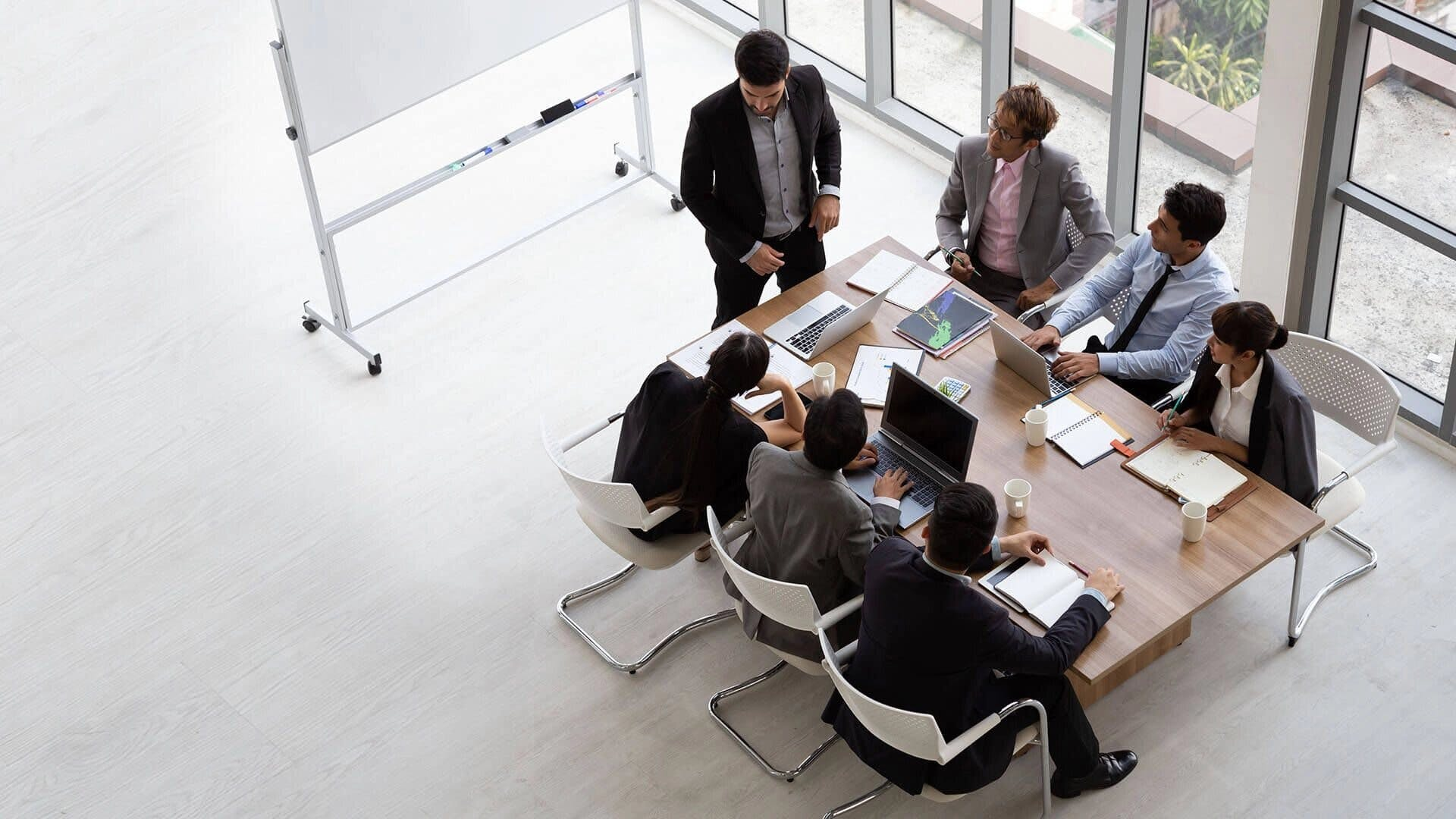top view of meeting around a desk