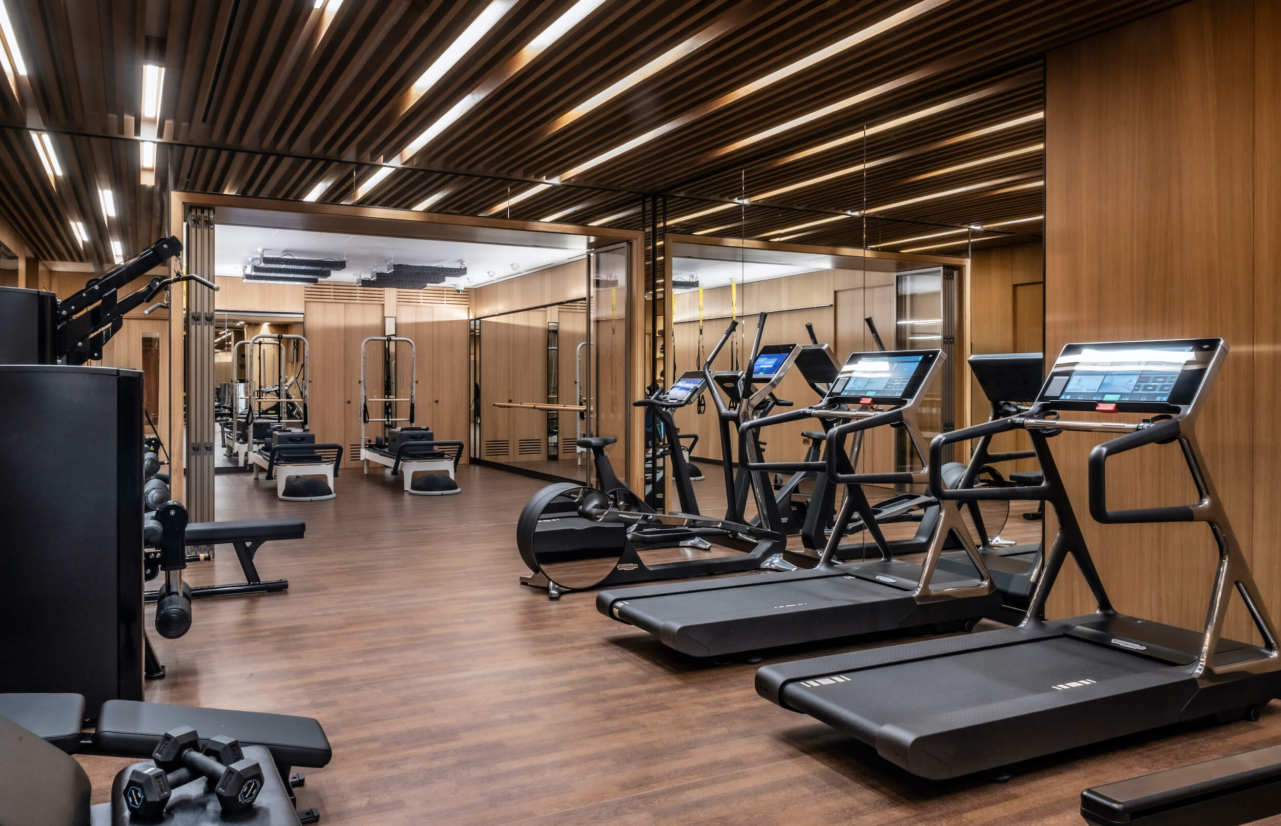 Gym with fitness machines and equipment