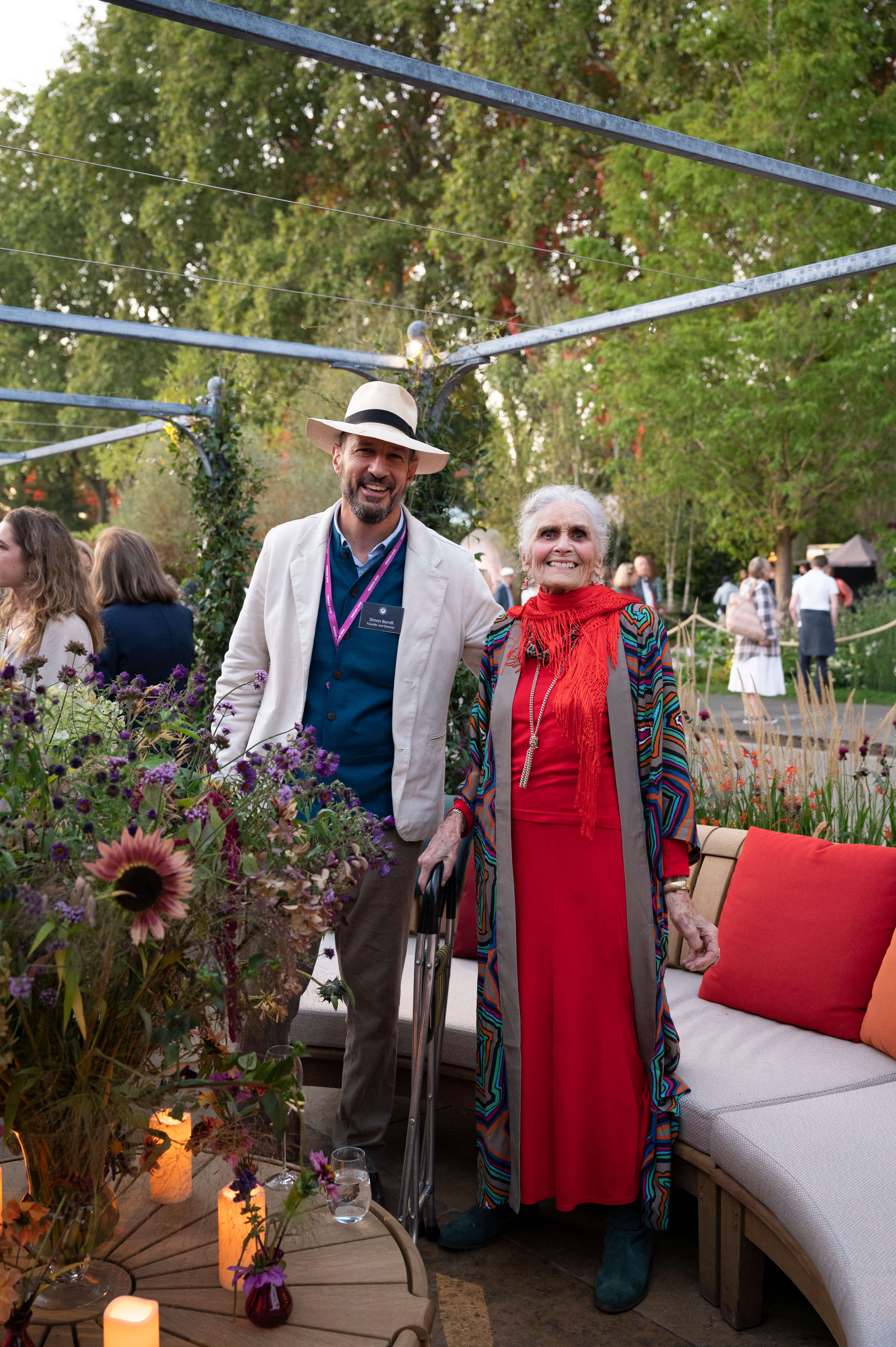 Daphne Self and Simon Burvill at Chelsea Flower Show
