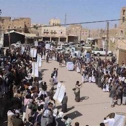 Yemenis protest against the US blacklisting of Houthis, Saada province, Yemen, 16 Jan. 2021. Source: Tasnim News Agency
