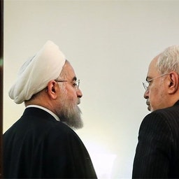 Iran's President Hassan Rouhani and Foreign Minister Mohammad-Javad Zarif at foreign ministry's building.Tehran, Iran, August. 6, 2019. /Tasnim News Agency.