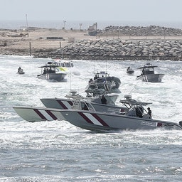 Qatar's coast guard training on the country's eastern coast on July 14, 2019. (Photo via Getty Images)