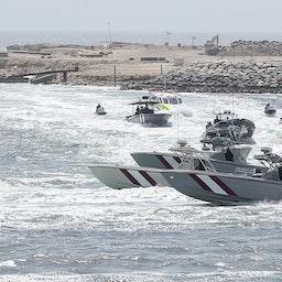 تمرین گارد ساحلی قطر در سواحل شرقی این کشور. ۲۳ تیر ۱۳۹۸. (عکس از گتی ایمیجز)