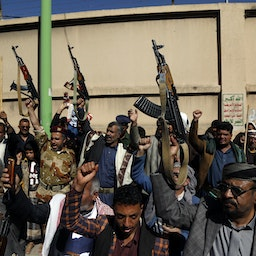Houthi fighters protest against the US decision to list the group as a foreign terrorist organization on Jan. 20, 2021 in Sana'a, Yemen. (Photo via Getty Images)