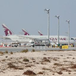 Qatar Airways airplanes on the tarmac of Hamad International Airport, Doha, Jan. 11, 2021.(Photo via Getty Images)