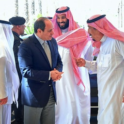 Crown Prince Mohammed bin Salman receiving Egypt's President Abdel Fattah Al-Sisi at the NEOM site, Saudi Arabia, on Aug. 14, 2018. (Photo via Getty Images)