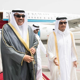 Qatar's Foreign Minister, Mohammed bin Abdulrahman, welcomes his Kuwaiti counterpart Sabah Khaled Al-Hamad Al-Sabah to Doha on May 14, 2018. (Photo via Getty Images)