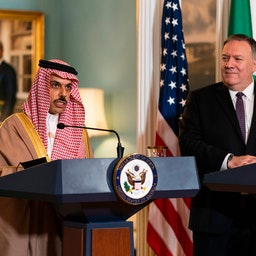 The Saudi foreign minister at a joint press conference with his counterpart at the U.S. State Department, Oct. 14, 2020 (Photo via Getty Images)