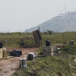 A battery of the Iron Dome defense system deployed in the Israeli-annexed Golan Heights, April 9, 2018. (Photo via Getty Images)