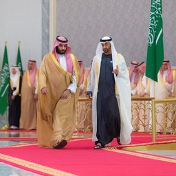 Mohammed bin Salman is welcomed by Mohammed bin Zayed in Abu Dhabi, United Arab Emirates on Nov. 22, 2018 (Photo via Getty Images)