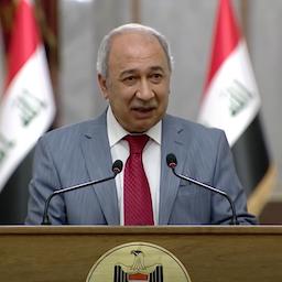 Hisham Dawood, advisor to Prime Minister Mustafa Al-Kadhimi, during a press conference in Baghdad on Sept. 1, 2020. (Photo via Iraqi prime minister's media office/Youtube)