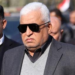 PMU Chairman Falih Al-Fayyadh attends the funeral ceremony of Qasem Soleimani and Abu Mahdi al-Muhandis, in Baghdad, Iraq on Jan. 4, 2020. (Photo by via Getty Images)