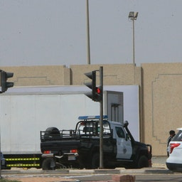 Security forces guard an entrance of Qatif city in Saudi Arabia's Eastern Province, Mar. 9, 2020.(Photo via Getty Images)