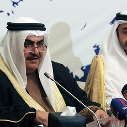 Bahrain's Khalid bin Ahmed Al Khalifa at a joint press conference with the UAE's foreign minister in Manama on Feb. 17, 2011 (Photo via Getty Images)