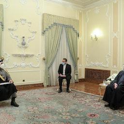 Qatar's chief diplomat meets Iran's president in Tehran on Feb. 15, 2021. (Photo via the Iranian presidential office's website)