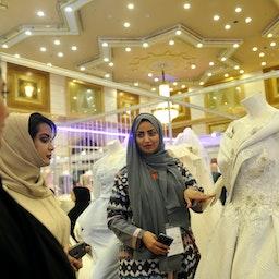 Saudi women at a bridal expo in Jeddah, Saudi Arabia on April 11, 2017 (Photo via Getty Images)