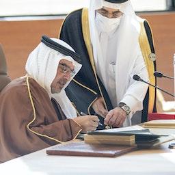 Bahrain's crown prince attends the 41st GCC Summit in Al-Ula, Saudi Arabia on Jan. 5, 2021 (Photo via Getty Images)