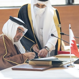 ولیعهد بحرین در چهل و یکمین اجلاس شورای همکاری خلیج فارس؛ العلا، عربستان سعودی، ۱۶ دی ۱۳۹۹/  ۵ ژانویه ۲۰۲۱ (عکس از گتی ایمیجز)