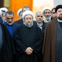 Iranian clerics Sadeq Amoli Larijani (center) and Hassan Khomeini (right) in Tehran, Iran on Jan. 31, 2018. (Photo by Mohammad Hassanzadeh via Tasnim News Agency)