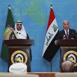 GCC Secretary Nayef Al-Hajraf (left) and Iraqi Foreign Minister Fuad Hussein (right) hold a joint press conference in Baghdad, Iraq on Feb. 1, 2021.  (Photo via Getty Images)