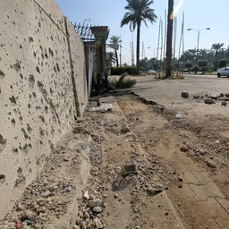 Damage outside Zawraa park recorded in the aftermath of a rocket attack on Green Zone in Baghdad, Iraq Nov. 18, 2020 (Photo via Getty Images)