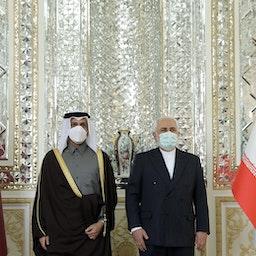 دیدار وزیر امور خارجهی قطر با همتای ایرانی خود در تهران؛ ایران ۲۷ بهمن ۱۳۹۹/ ۱۵ فوریه ۲۰۲۱  (عکس از گتی ایمیجز