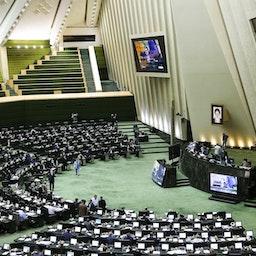 Iran's parliament convenes for a public session in Tehran on Feb. 24, 2021. (Photo by Saeed Sajjadi via Fars News Agency)