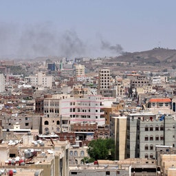 Smoke rises from Houthi positions near Ma'rib city, Yemen on Sept. 20, 2014 (Photo via Getty Images)