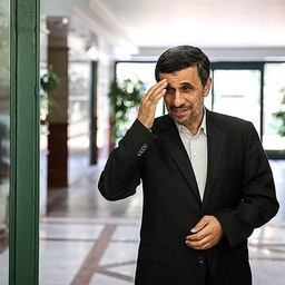 Former Iranian president Mahmoud Ahmadinejad in Tehran, Iran, on the first day after the end of his presidency in 2013. (Photo by Hamed Malekpour via Tasnim News Agency)