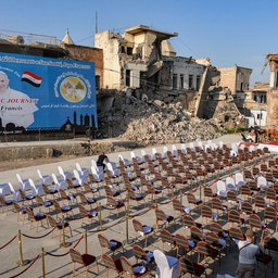 The ruins of the Syriac Catholic Church of the Immaculate Conception in Mosul, Iraq on March 6, 2021, amidst preparations ahead of the Pope's visit. (Photo via Getty Images)