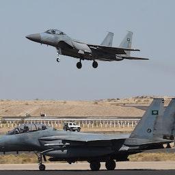 Saudi F-15 fighter jets at the Khamis Mushayt military airbase, Saudi Arabia on Nov. 16, 2015 (Photo via Getty Images)