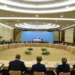The 15th round of Syria peace talks continues in Sochi, Russia on Feb. 17, 2021. (Photo via Getty Images)