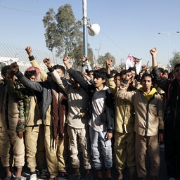 Supporters of the Houthis protest outside the closed American embassy in Sana'a, Yemen on Jan. 18, 2021 (Photo via Getty Images)