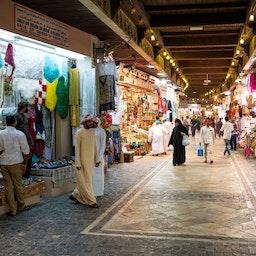 Men in the old bazaar of Muscat, Oman on Feb. 14, 2020 (Photo via Getty Images)