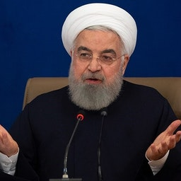 Iran's President Hassan Rouhani is his press conference in presidential palace. Tehran, Iran. Dec. 14, 2020. (Photo by Hossein Zohrehvand via Tasnim News Agency)