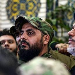 Qais Al-Khazali, commander of the Asa'ib Ahl Al-Haq attends a funeral procession in the shrine city of Najaf on Jan. 4, 2020. (Photo via Getty Images)